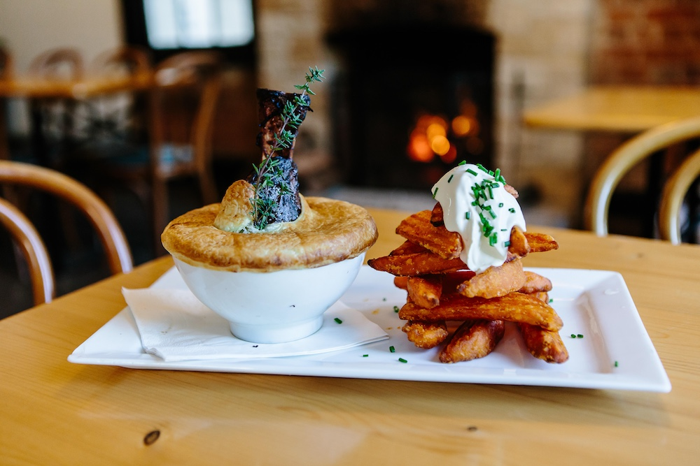 Pie and sweet potato chips at The Friendly Inn Bistro