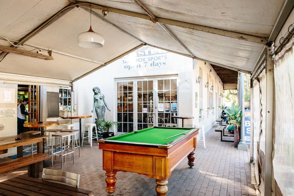 Pool table at The Friendly Inn bar