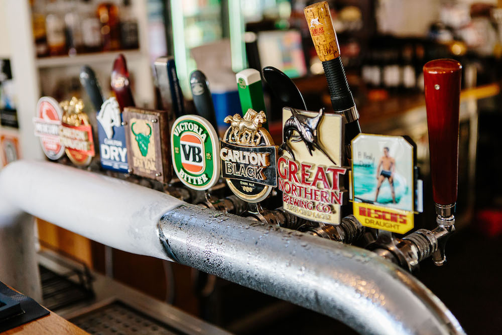 Beers on tap at The Friendly Inn Bar